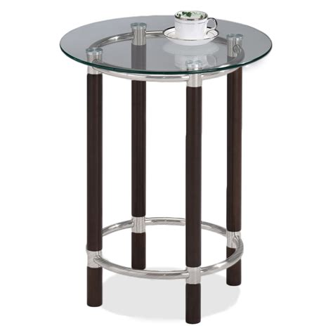 round accent table with glass top leick coffee brushed nickel glass top round end table