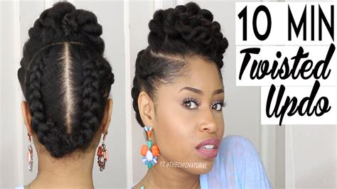 show me some flat twist style on natural black hair twisted natural hair protective updo in 10 minutes or less