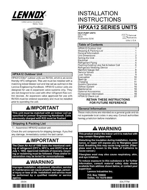 Lennox Air Conditioner Heat Pump Outside Unit Manual L0806495