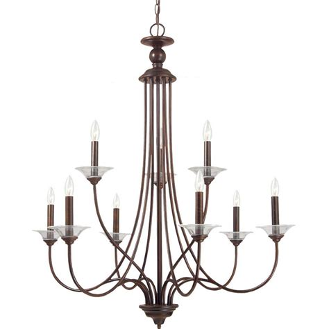 Chandelier Single Sea Gull Lighting Lemont 9 Light Burnt Single Tier Chandelier 31319 710 The Home Depot