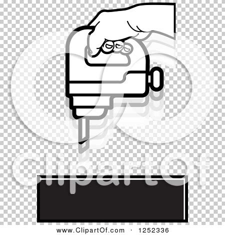Port Folio 5836 10 Black clipart of a black and white operating a drill