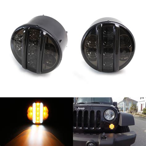 smoked lights for jeep wrangler 2x amber front led turn signal light smoked lens for 2007