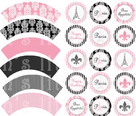 free printable paris party decorations paris theme party cupcake wrappers and 2 inch circle tags