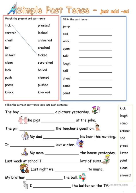 free printable worksheet simple past simple past tense add ed worksheet free esl printable