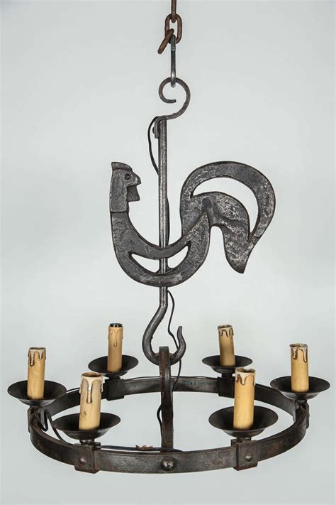 Rooster Chandeliers Wrought Iron Kichen Chandelier With Rooster At 1stdibs