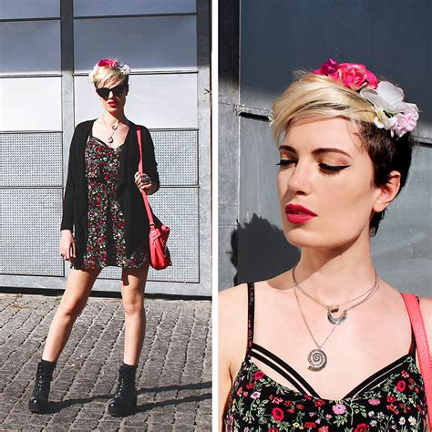 Floral Mini Dress Pink Zara Trafaluc Trf nelly zara pink flower crown h m floral mini dress marc by pink leather bag