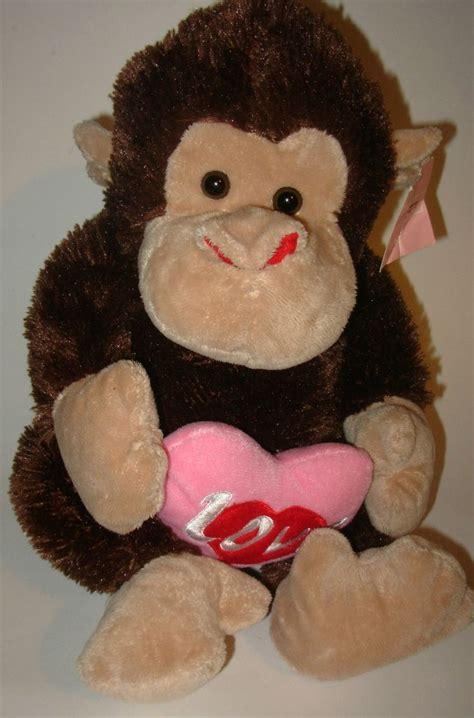 big stuffed monkey for valentines day monkey s day plush stuffed animal pink