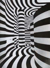 black white tunnel optical illusion