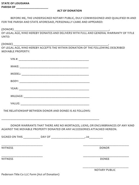 Louisiana Act of Donation Form Download Fillable PDF