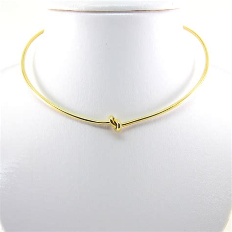 gold collar 2 mm diameter wire knot neckwire gold tone brass adjustable collar choker one size