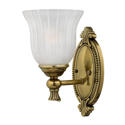 Brass Bathroom Lights Francois Solid Brass Single Bathroom Wall Light In A Burnished Brass Finish And A Frosted Ribbed