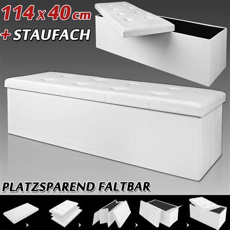 aufbewahrungsbox lederoptik sitzhocker sitzbank 114x40x40cm ottomane aufbewahrungsbox