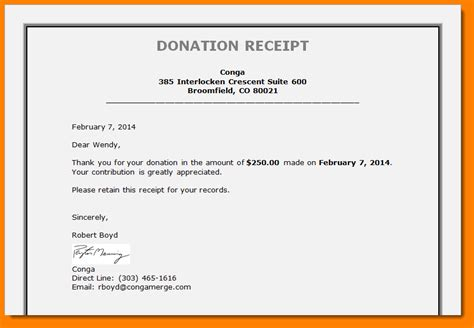Donation Tax Receipt Template Word by 7 Donation Receipt Letter Template Sales Slip Template