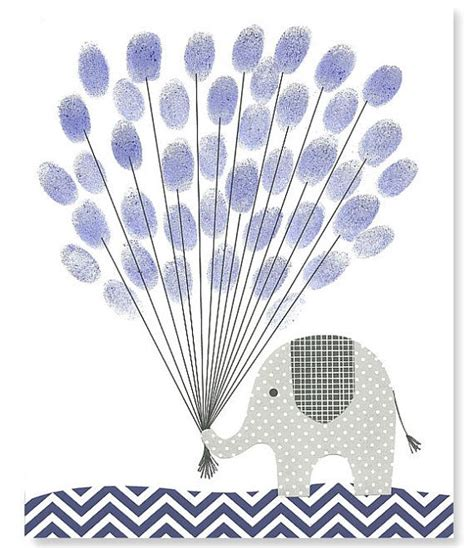 Dropbolt By Acesories Finger Print fingerprint baby shower alternative guest book elephant