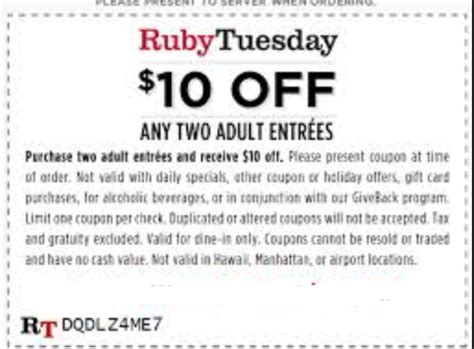 Ruby Tuesday Coupons Printable 2017 ruby tuesday printable coupons december 2018 out