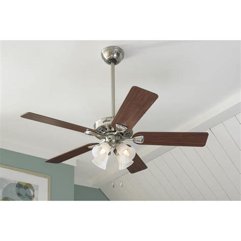 hunter flush mount ceiling fans shop hunter westminster 52 in brushed nickel downrod or