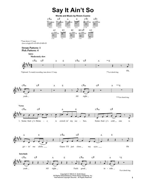 say it aint so say it ain t so sheet music direct