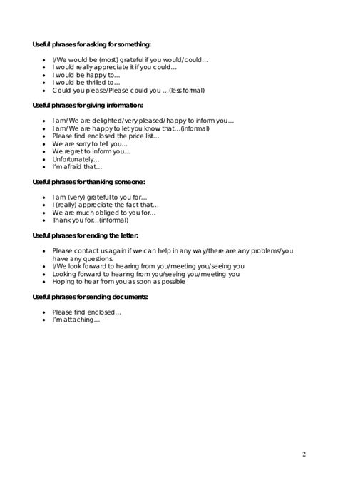 business letter useful phrases worksheet business letter and letters