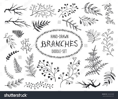 doodle inc branches collection set inc stock illustration