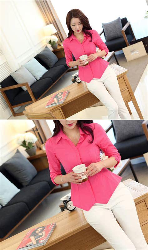 Kemeja Ribbonpita Pink kemeja kerja wanita lengan 3 4 pita cantik model terbaru jual murah import kerja