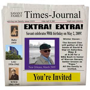 newspaper invitation template free 40th birthday ideas newspaper birthday invitation