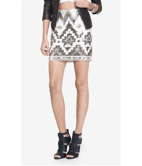 express ivory and silver aztec sequin mini skirt in white