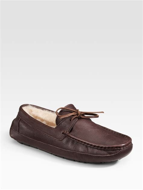 ugg house shoes for men ugg bergen leather slippers in brown for men chocolate lyst