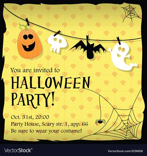 design halloween party invitation card halloween party invitation card with ghostbat vector image