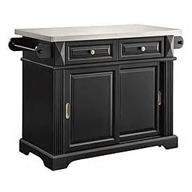 view black finish sliding door kitchen cart with stainless