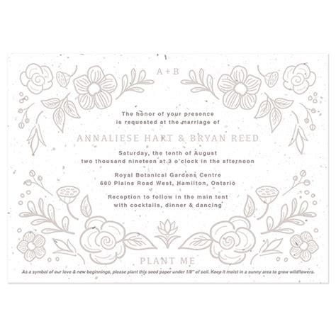 seed paper wedding invitation kits botanical seed paper wedding invitation plantable