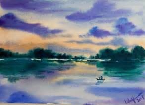 water color sunset watercolor sunset reflection demonstration
