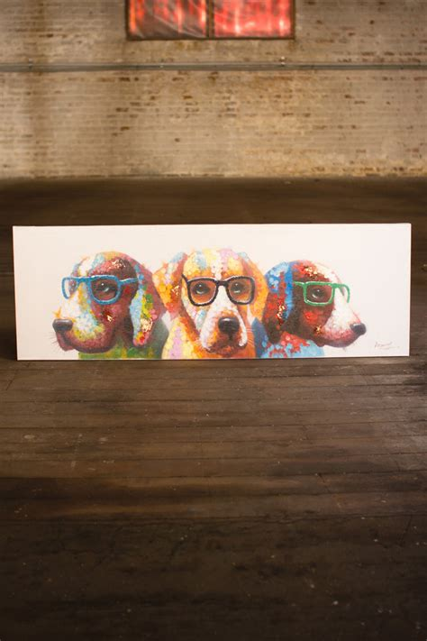 oil painting colorful dogs  glasses
