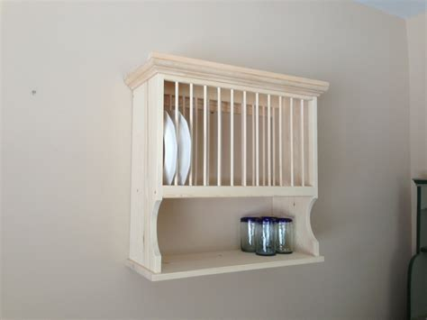 wooden plate rack wall shelf
