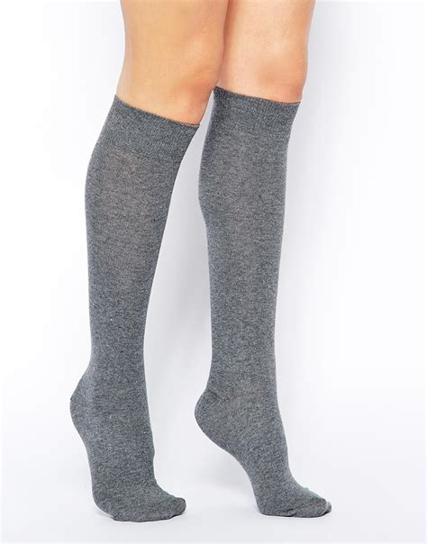 Knee Socks lyst asos knee high socks in gray