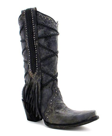 corral boots fringe s corral black grey braiding fringe boots a3146 ebay