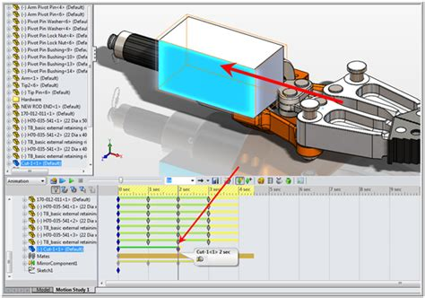 solidworks tutorial how to animate a 6 dof degrees of progressive cut in animation with solidworks