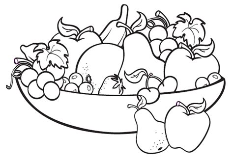 coloring pages fruits preschool fruit bowl drawing for kids applique pinterest