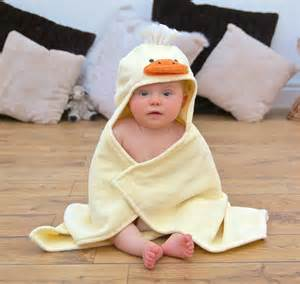 infant hooded bath towels personalised cuddly duck baby towel by bathing bunnies