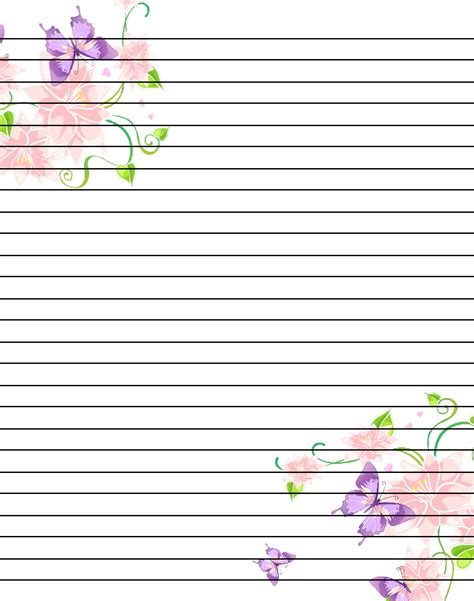 lined paper with plant border 8 best images of printable writing sheets with borders
