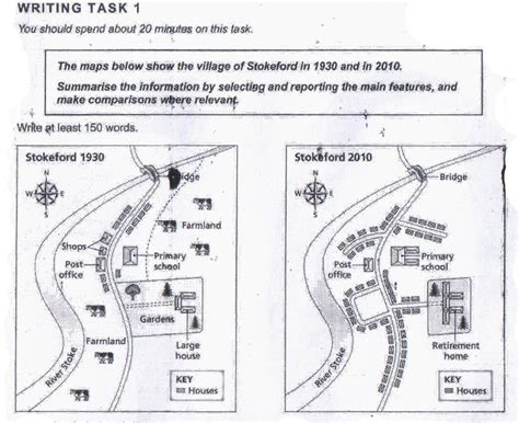 writing task 1 map lessons and sles ielts the maps below show the village of stokeford in 1930 and in 2010 testbig com