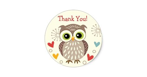 Wall Sayings Stickers cute owl and hearts thank you stickers zazzle