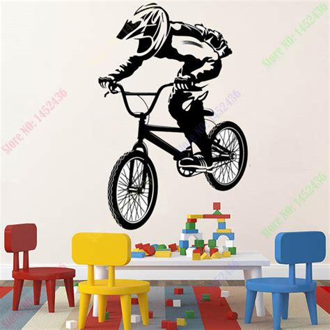 bmx wall stickers 2016 new bmx bike bicycle biker boys wall decal vinyl home