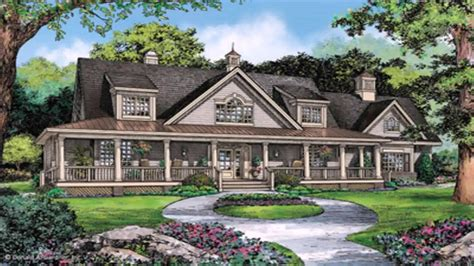 story ranch style house plans  wrap  porch