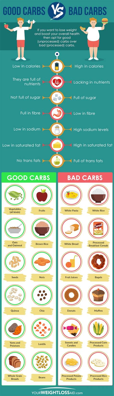carbohydrates or bad carbs vs bad carbs infographic