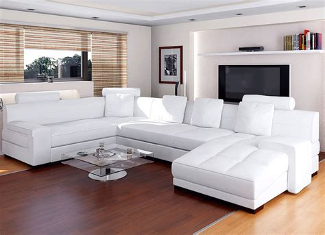 Living Room With White Leather Sofa Modern White Leather Sectional Sofa For Contemporary Living Room Decorating Ideas With Unique