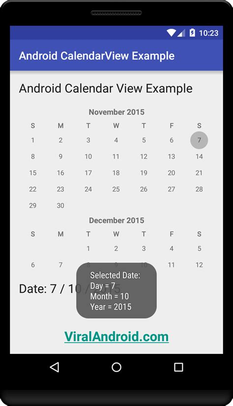 android calendar android calendarview exle viral android tutorials exles ux ui design
