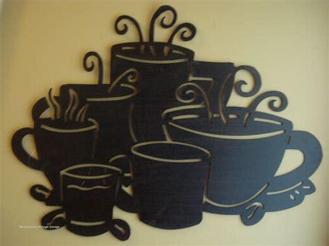 Espresso Cups Coffee Home Decor Large Metal Black Coffee Cups Mugs Wall Decor Plaque