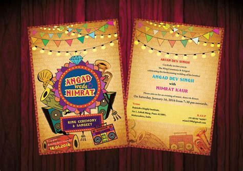 angad weds nimrat wedding invitation card  behance