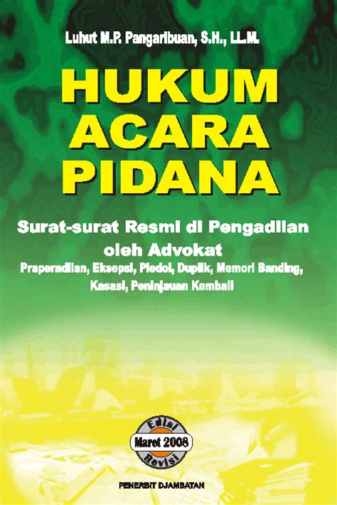 pt penerbit djambatan hukum acara pidana surat surat