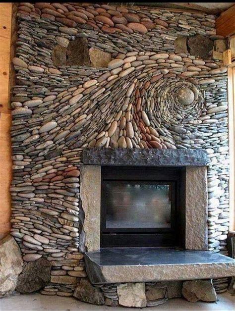 Photos of river rock fireplaces